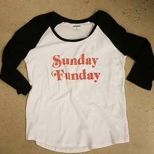 Express Sunday Funday black and white graphic top